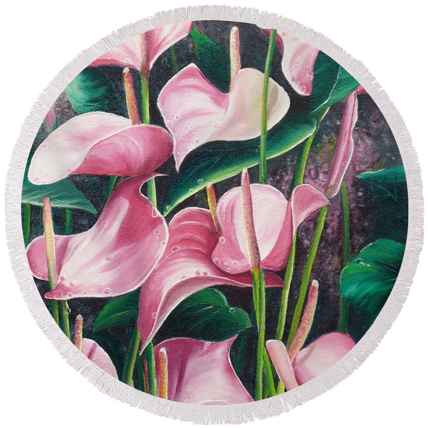 Floral Flowers Lilies Pink Round Beach Towel featuring the painting Pink Anthuriums by Karin Dawn Kelshall- Best