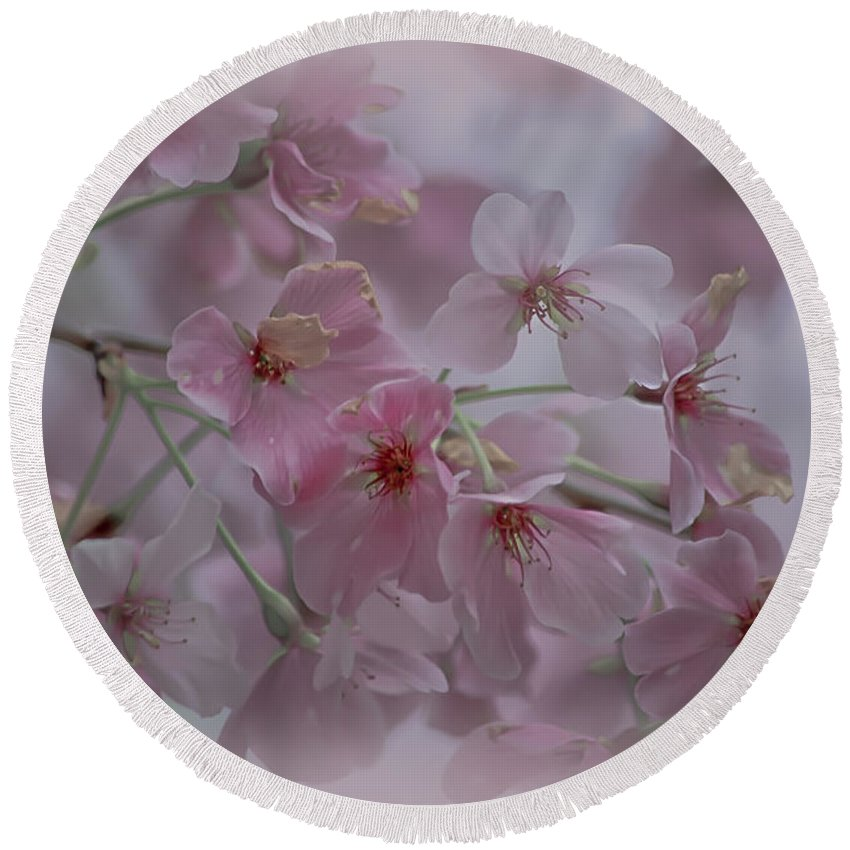 Pink Round Beach Towel featuring the photograph Pink Blossoms by Scott Hervieux