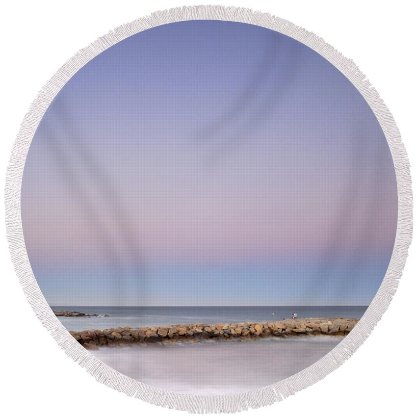 Seascape Round Beach Towel featuring the photograph Pink Blue Sunset Over Banus by Guido Montanes Castillo