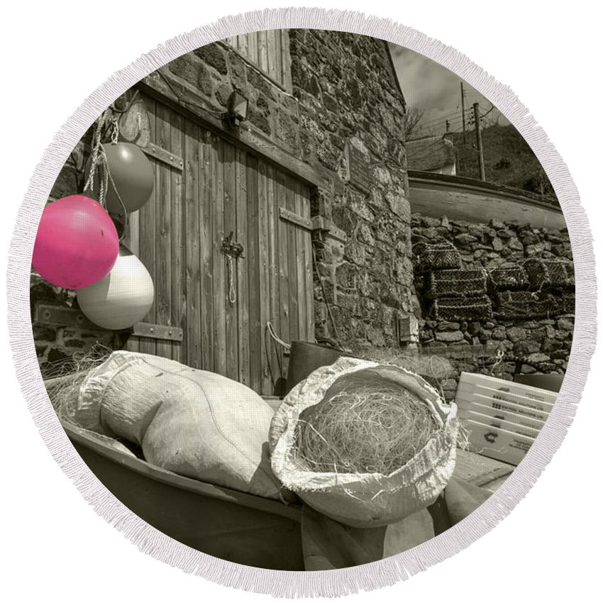 Pink Round Beach Towel featuring the photograph Pink Buoy by Rob Hawkins