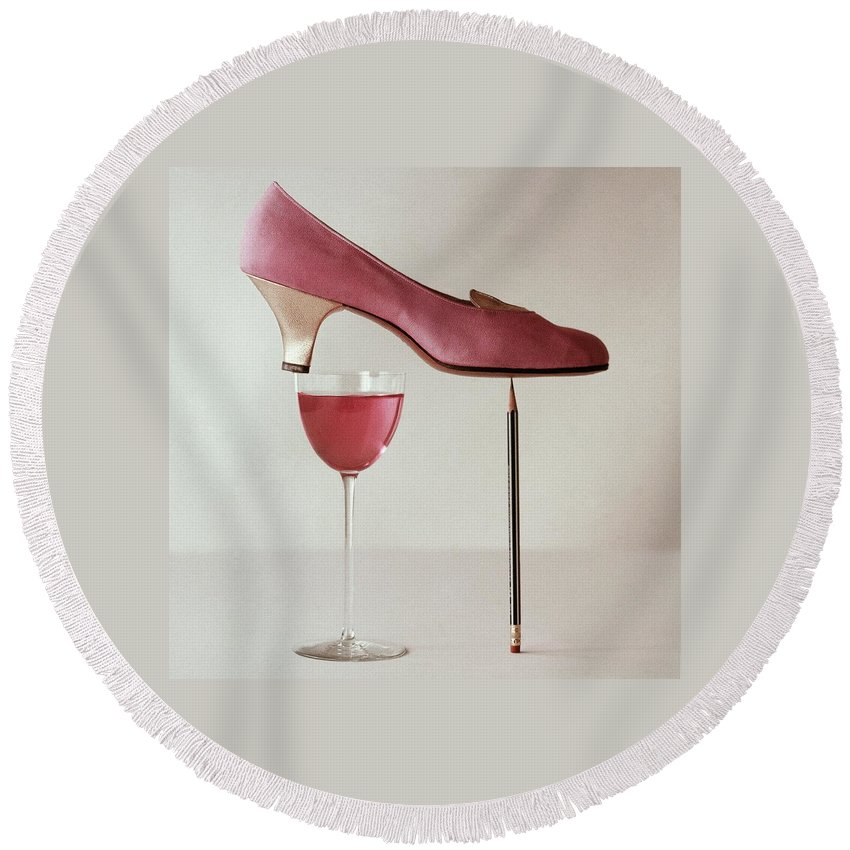 Accessories Round Beach Towel featuring the photograph Pink Capezio Pump by Richard Rutledge