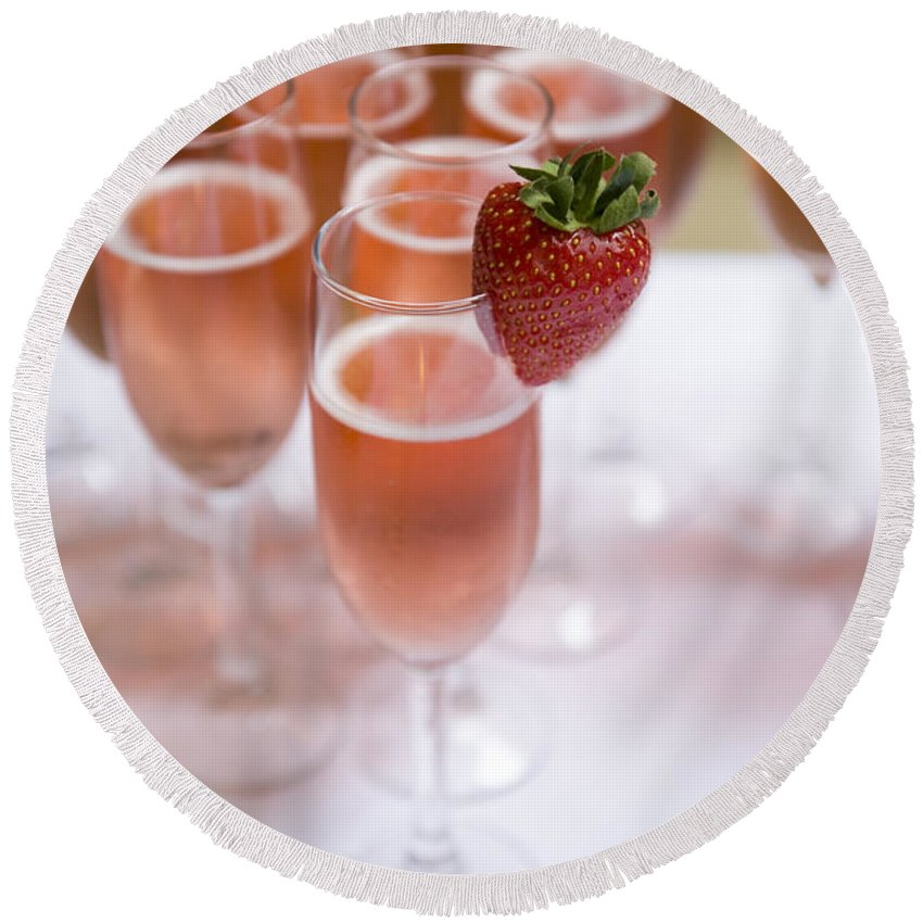 Champagne Round Beach Towel featuring the photograph Pink Champagne And Strawberry by Lee Avison