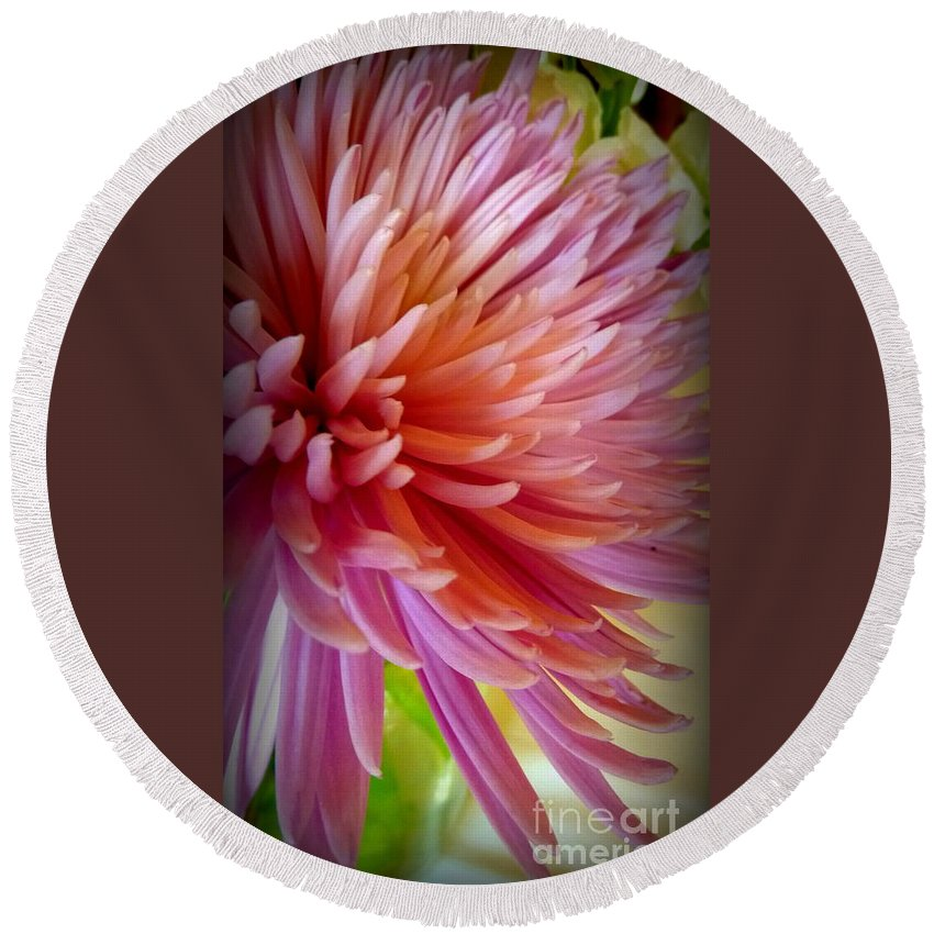 Flower Round Beach Towel featuring the photograph Pink Energy by Susan Garren