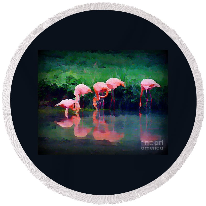 Flamingos Round Beach Towel featuring the painting Pink Flamingos by John Malone