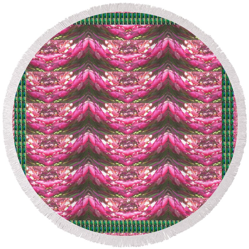 Pink Round Beach Towel featuring the mixed media Pink Flower Petal Based Crystal Beads In Sync Wave Pattern by Navin Joshi