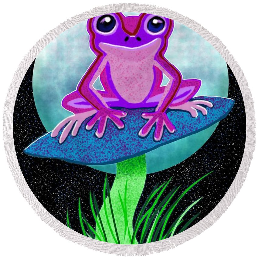 Frog Round Beach Towel featuring the drawing Pink Frog And Blue Moon by Nick Gustafson