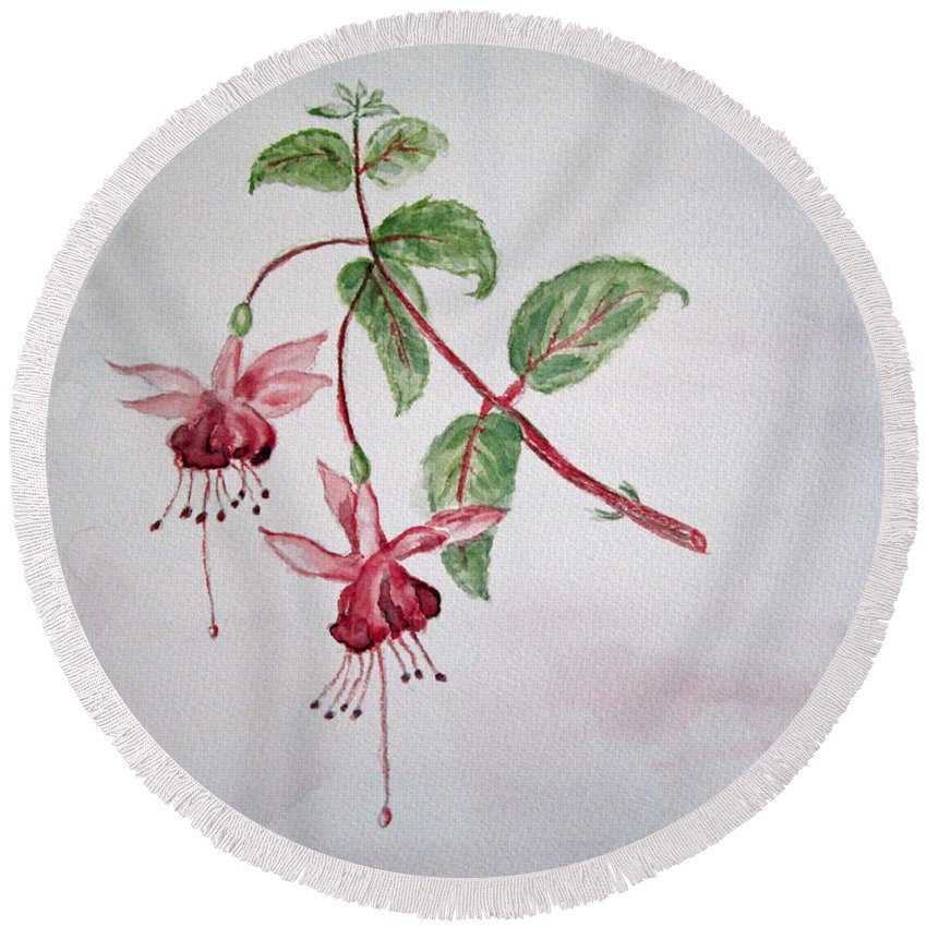 Floral Round Beach Towel featuring the painting Pink Fuchsia's by Elvira Ingram