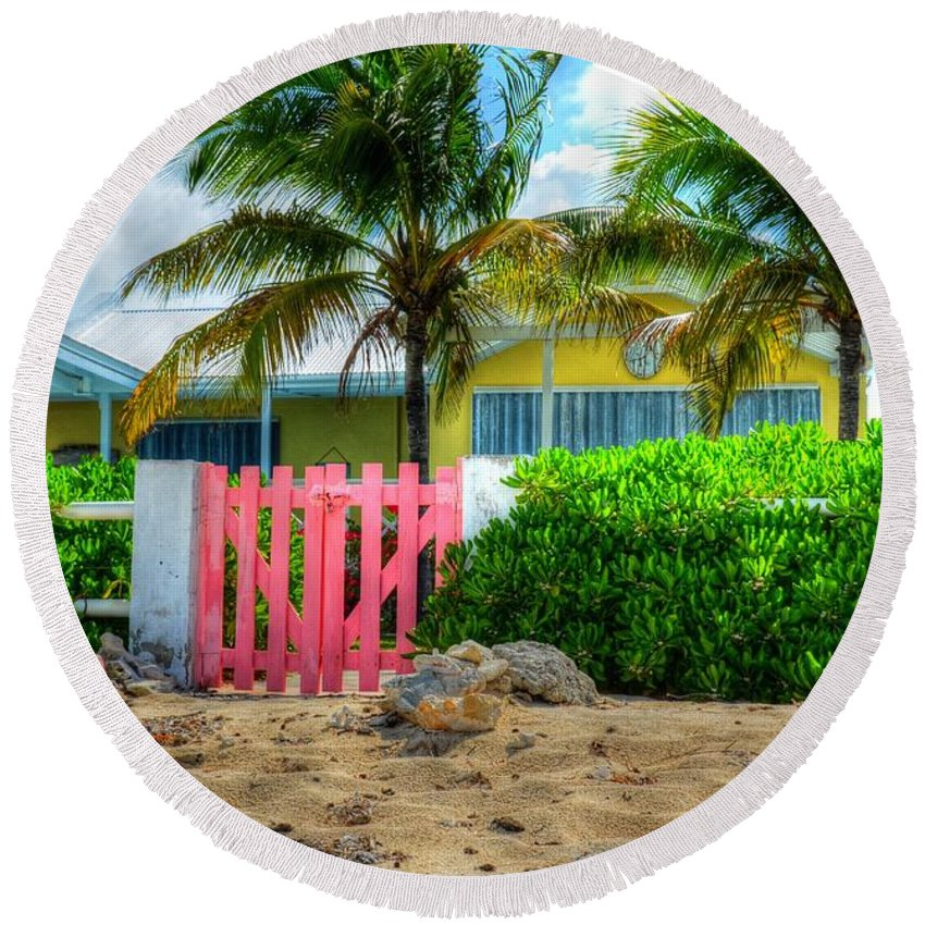Gate Round Beach Towel featuring the photograph Pink Gate by Debbi Granruth