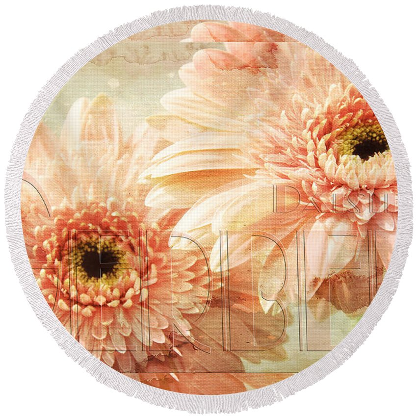 Gerber Round Beach Towel featuring the mixed media Pink Gerber Daisies 3 by Andee Design
