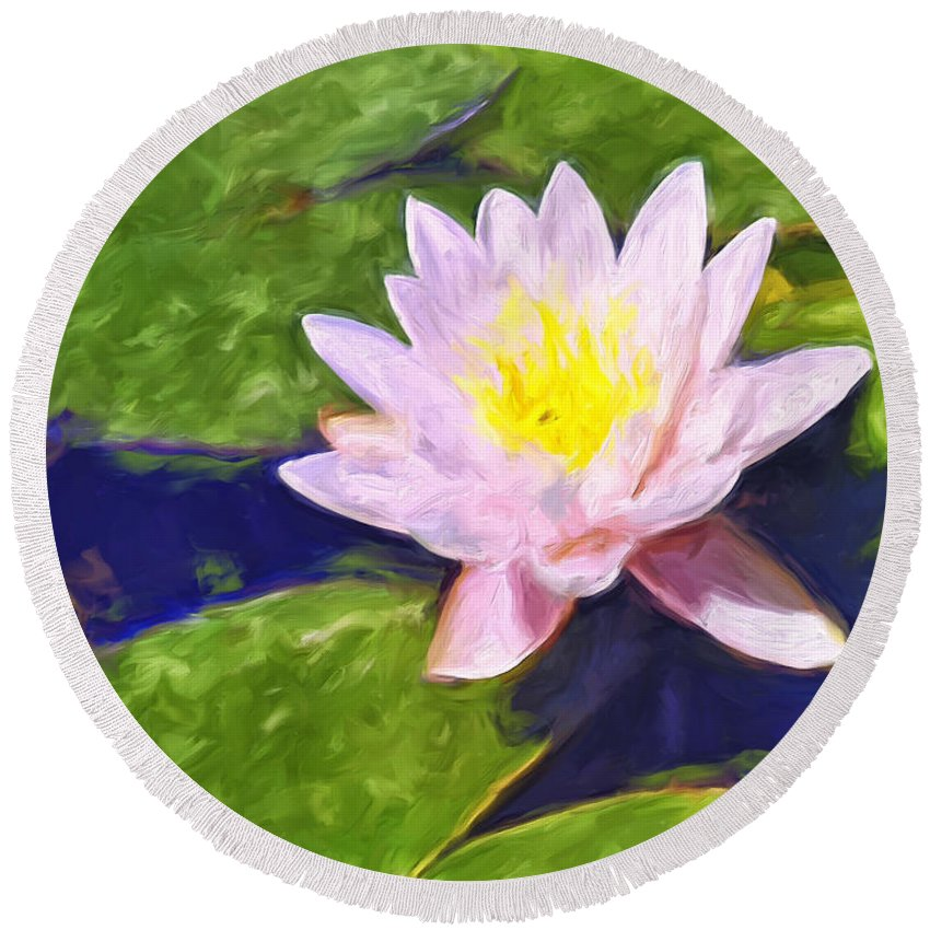 Lotus Round Beach Towel featuring the painting Pink Lotus At Waikoloa by Dominic Piperata