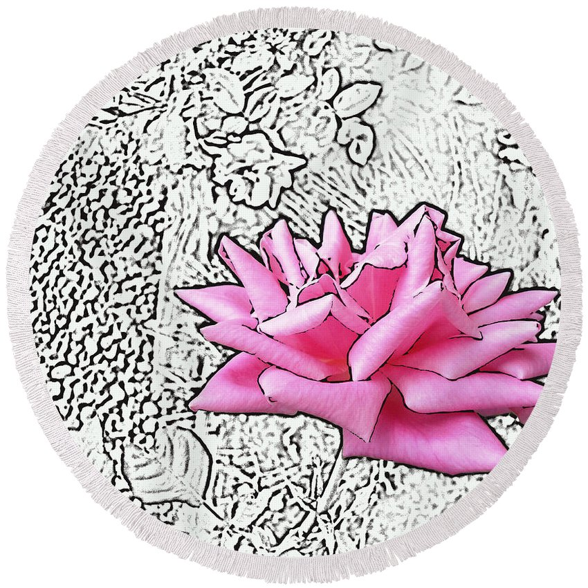 Rose Round Beach Towel featuring the digital art Pink by Lovina Wright