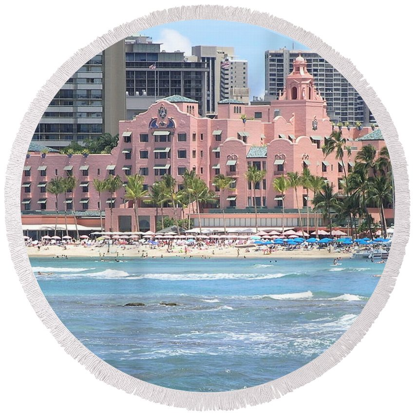 Beach Round Beach Towel featuring the photograph Pink Palace On Waikiki Beach by Mary Deal