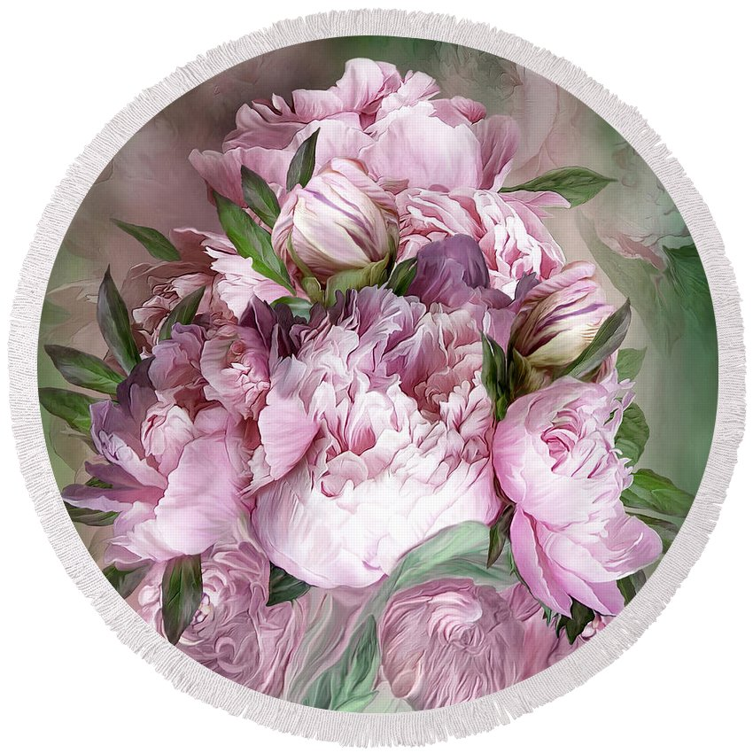Peonies Round Beach Towel featuring the mixed media Pink Peonies Bouquet - Square by Carol Cavalaris