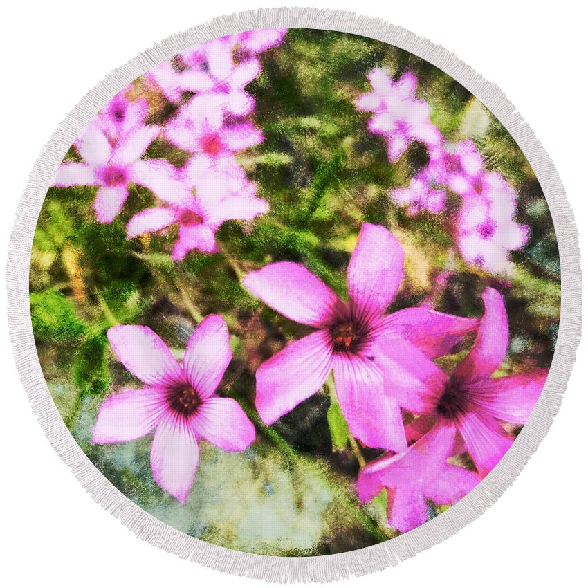 Pink Round Beach Towel featuring the digital art Pink Propellers by Steve Taylor