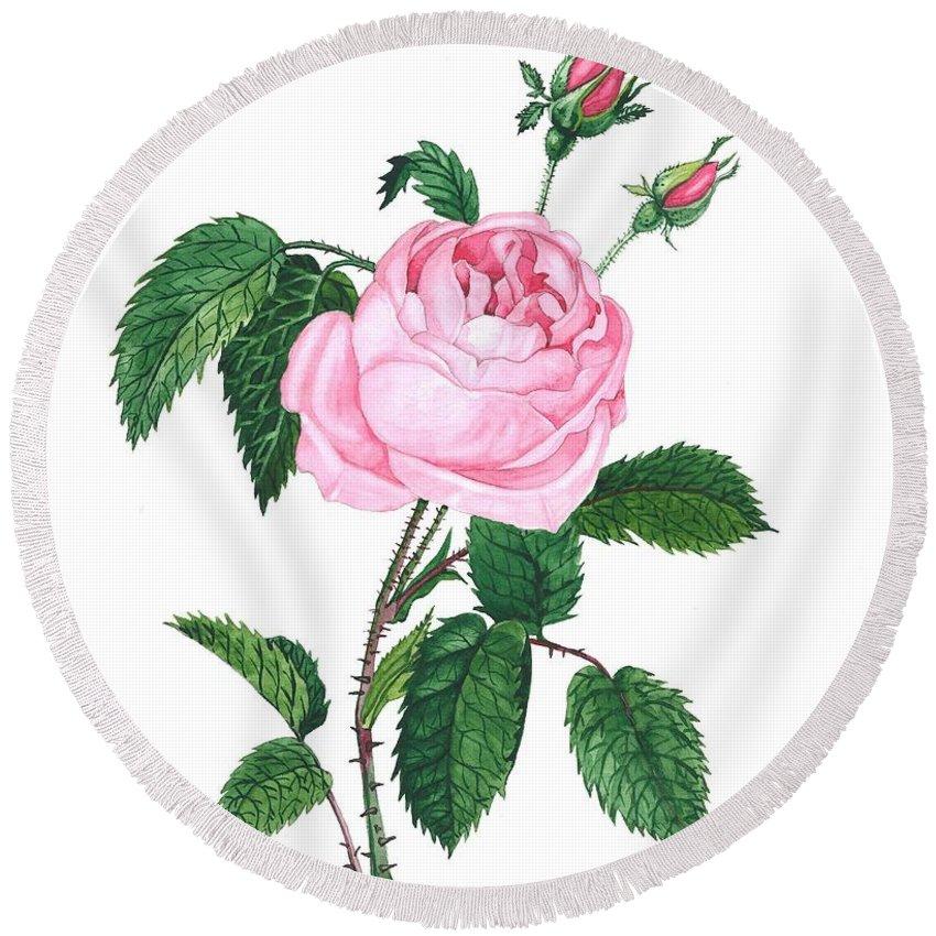 Original Round Beach Towel featuring the painting Pink Rose by Margaryta Yermolayeva