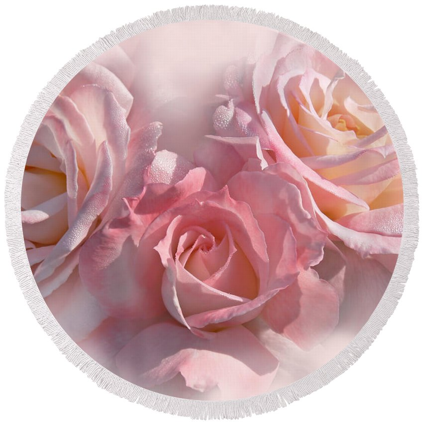 Rose Round Beach Towel featuring the photograph Pink Roses In The Mist by Jennie Marie Schell