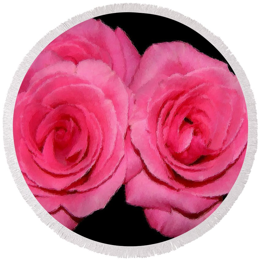 Roses Round Beach Towel featuring the photograph Pink Roses With Brush Stroke Effects by Rose Santuci-Sofranko