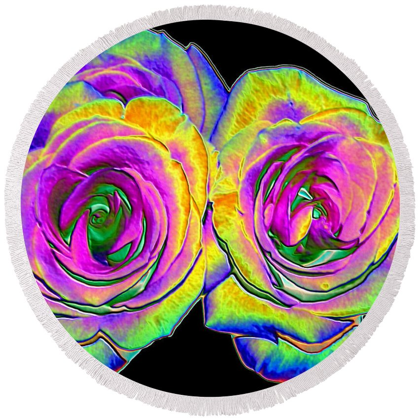 Roses Round Beach Towel featuring the photograph Pink Roses With Colored Foil Effects by Rose Santuci-Sofranko
