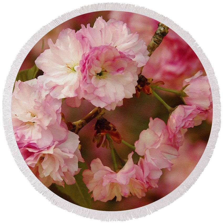 Crab Apple Round Beach Towel featuring the photograph Pink Spring Blossoms by James C Thomas