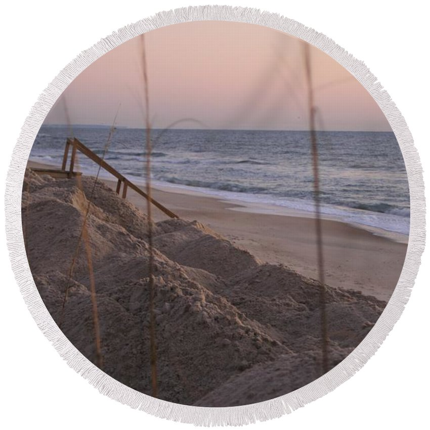 Pink Round Beach Towel featuring the photograph Pink Sunrise on the Beach by Nadine Rippelmeyer