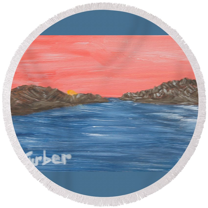 Ocean Round Beach Towel featuring the painting Pink Sunset by Suzanne Surber