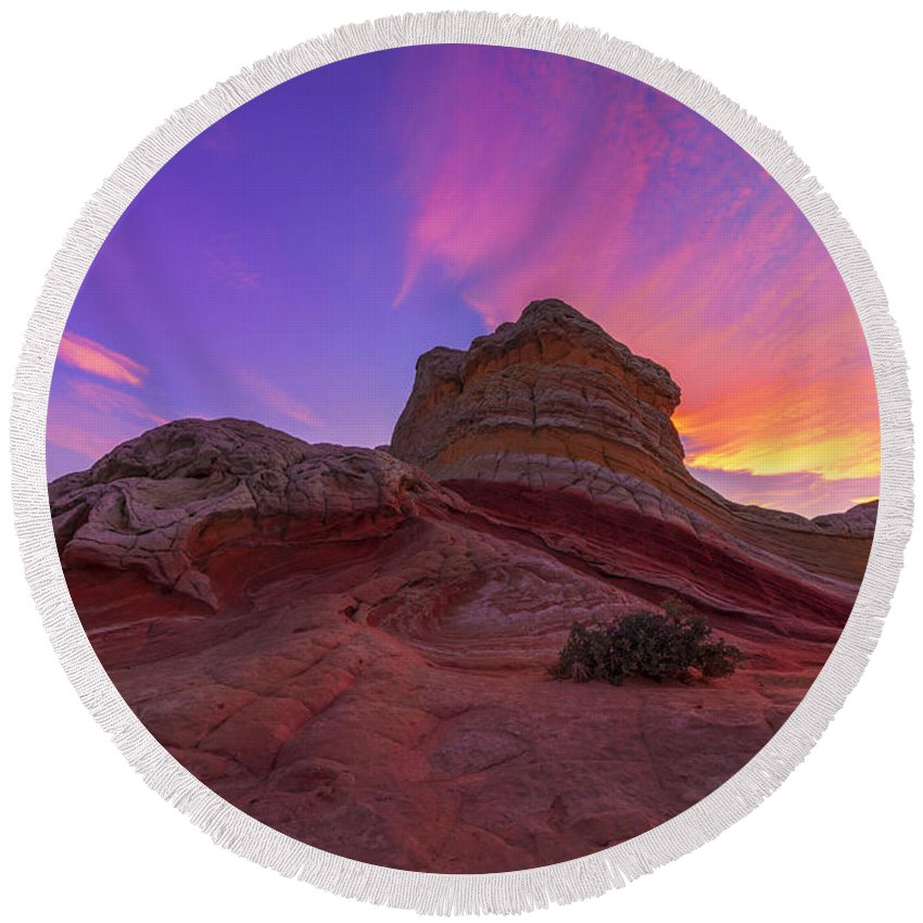 Arizona Round Beach Towel featuring the photograph Pink Swirl by Dustin LeFevre