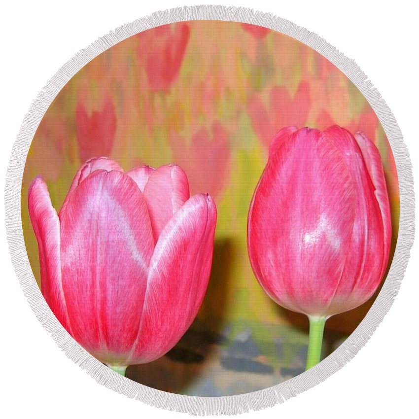 Pink Tulips Round Beach Towel featuring the photograph Pink Tulips by Will Borden