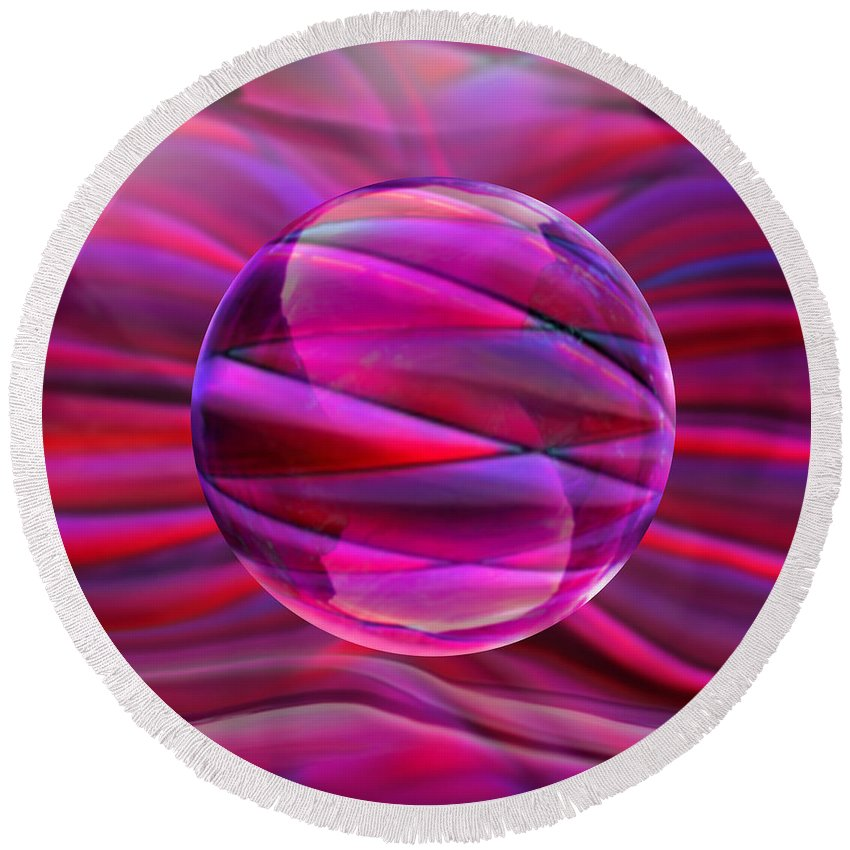 Pink Round Beach Towel featuring the digital art Pinking Sphere by Robin Moline