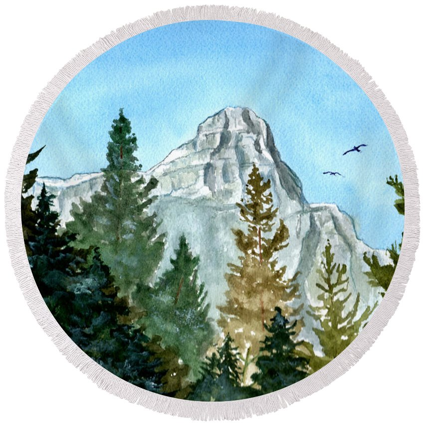 Watercolor Round Beach Towel featuring the painting Pinnacle by Brenda Owen