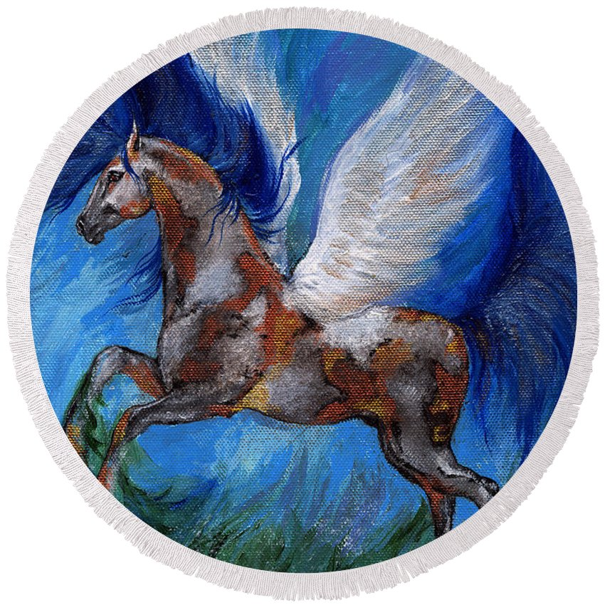 Fairytale Round Beach Towel featuring the painting Pinto Pegasus With Blue Mane by Angel Ciesniarska