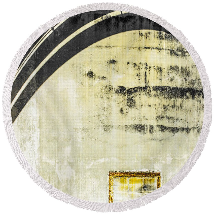 Cement Wall Round Beach Towel featuring the photograph Piped Abstract 4 by Carolyn Marshall