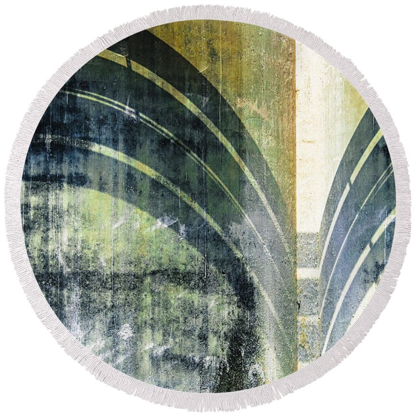 Cement Wall Round Beach Towel featuring the photograph Piped Abstract by Carolyn Marshall
