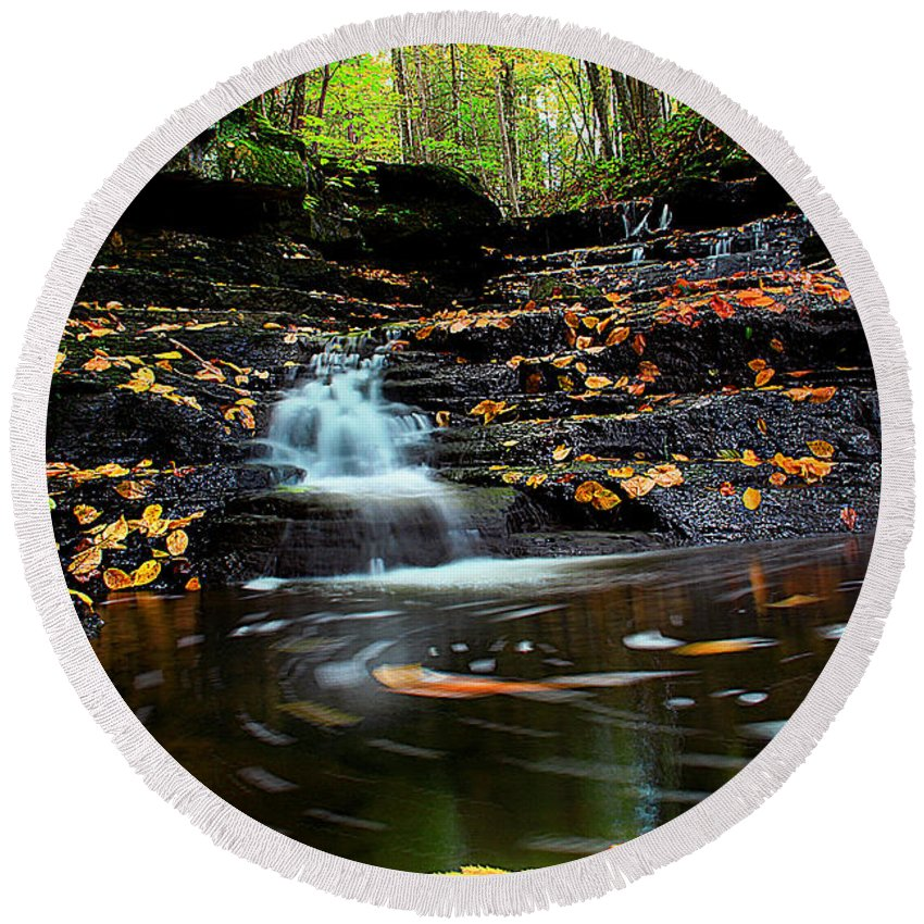 Landscape Round Beach Towel featuring the photograph Pipestem Falls by Melissa Petrey