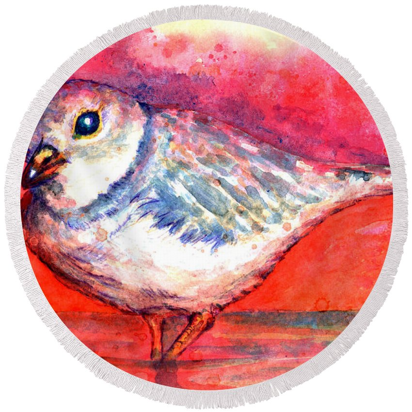 Sea Bird Round Beach Towel featuring the painting Pippa by Ashley Kujan