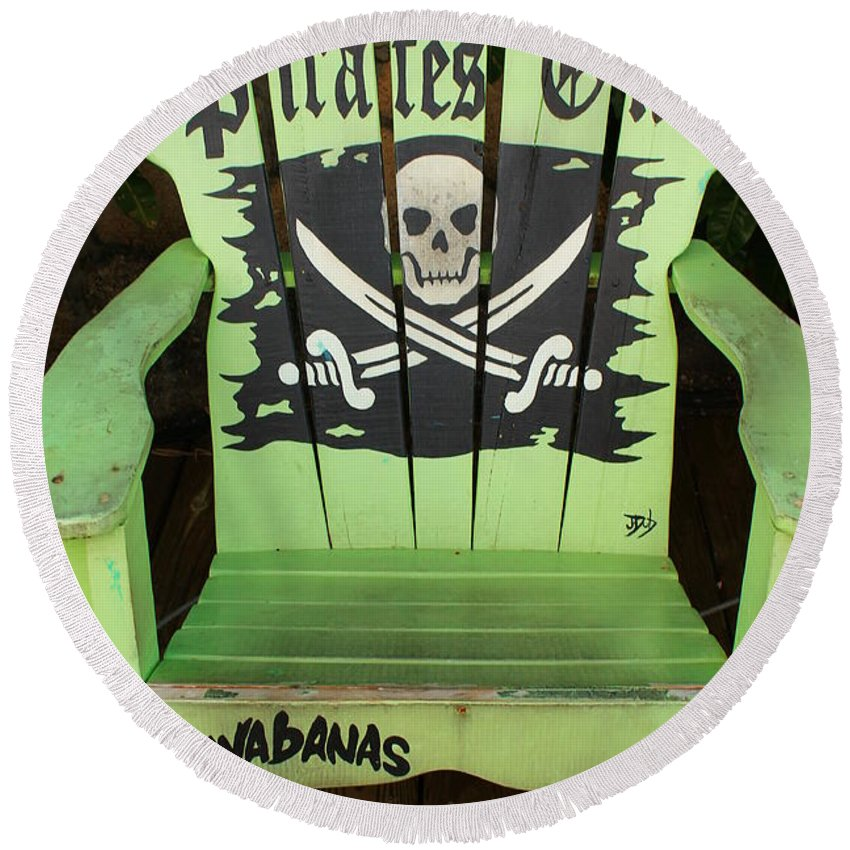 Green Round Beach Towel featuring the photograph Pirates Only by Catie Canetti