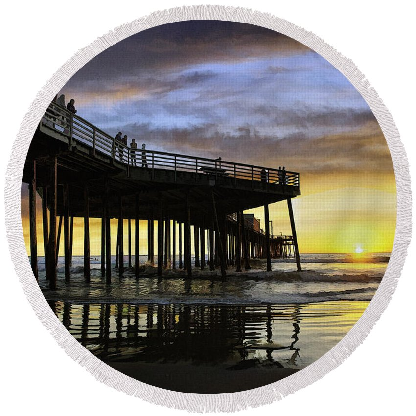 Pismo Pier Round Beach Towel featuring the digital art Pismo Sunset View by Sharon Foster