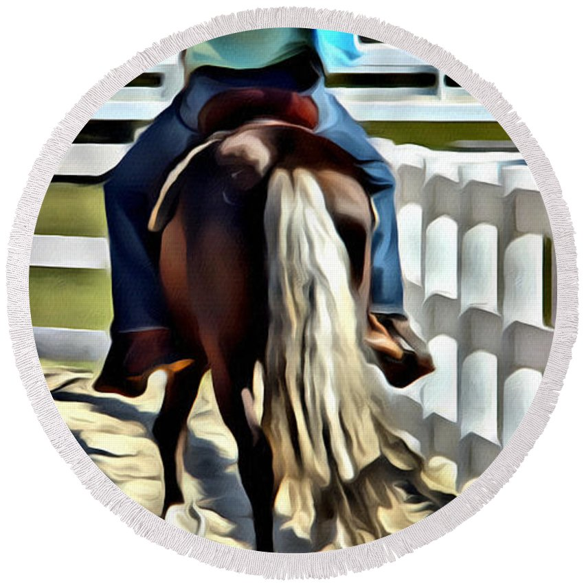 Horse Paso Fino Rider Round Beach Towel featuring the photograph Pitter Pat by Alice Gipson
