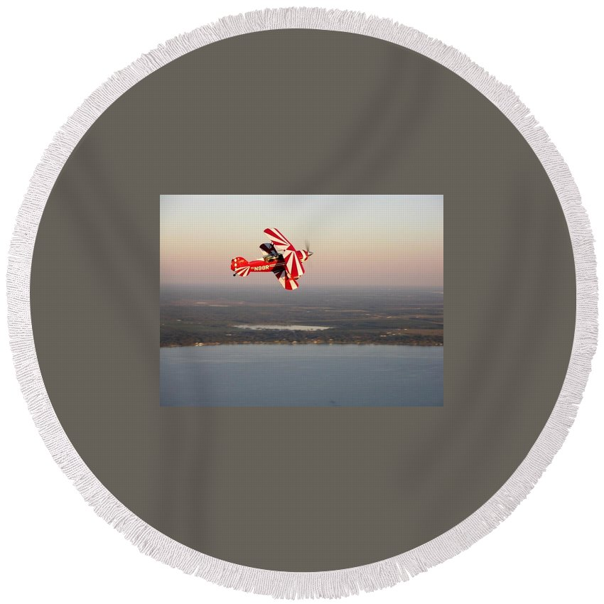 Pitts Special Round Beach Towel featuring the photograph Pitts At Sunset by Matt Abrams
