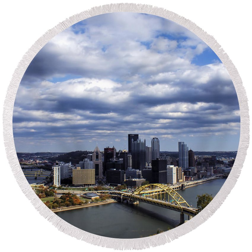 Pittsburgh Round Beach Towel featuring the photograph Pittsburgh After The Storm by Michelle Joseph-Long