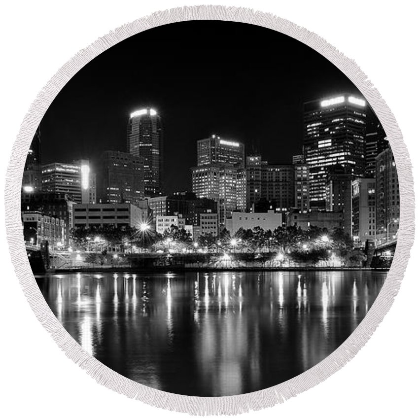 Pittsburgh Round Beach Towel featuring the photograph Pittsburgh Black And White Panorama by Frozen in Time Fine Art Photography