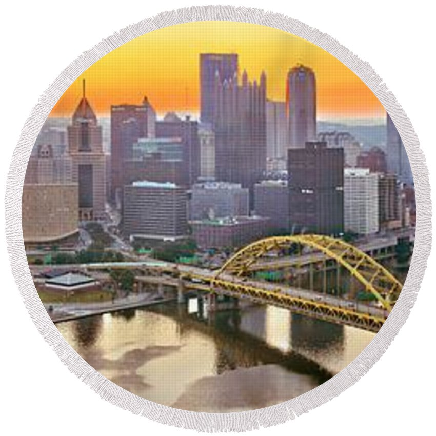 Duquesne Incline Round Beach Towel featuring the photograph Pittsburgh Incline Sunrise Panorama by Adam Jewell
