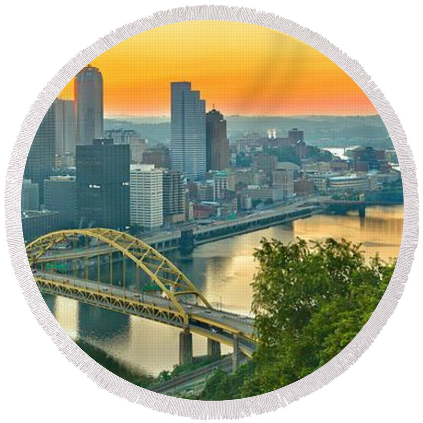 Duquesne Incline Round Beach Towel featuring the photograph Pittsburgh Orange Skyline by Adam Jewell
