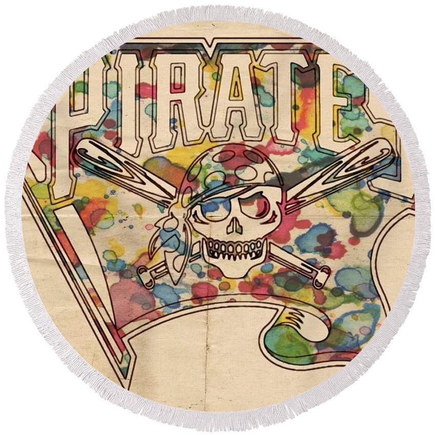 Pittsburgh Pirates Round Beach Towel featuring the painting Pittsburgh Pirates Poster Art by Florian Rodarte