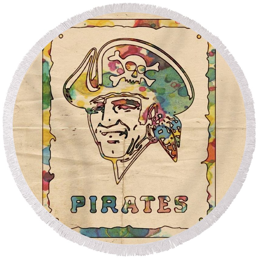 Pittsburgh Pirates Round Beach Towel featuring the painting Pittsburgh Pirates Vintage Art by Florian Rodarte