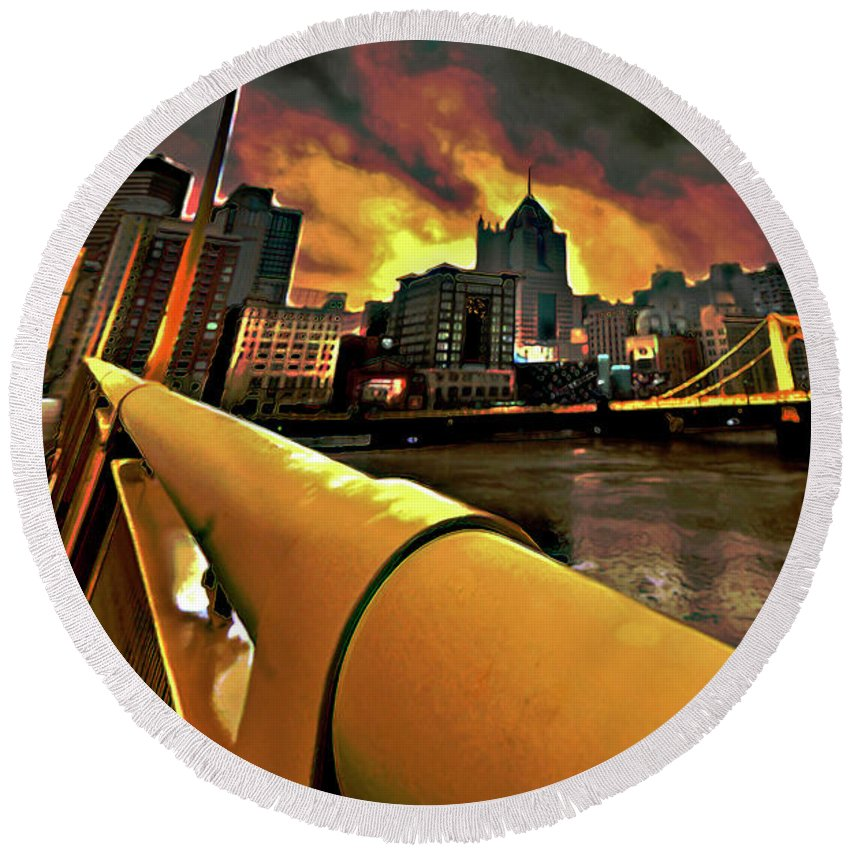 Pittsburgh Skyline Round Beach Towel featuring the painting Pittsburgh Skyline by Fli Art