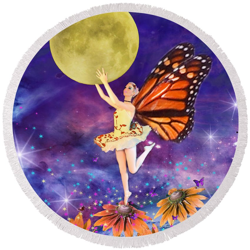 Ballerina Round Beach Towel featuring the digital art Pixie Ballerina by MGL Meiklejohn Graphics Licensing