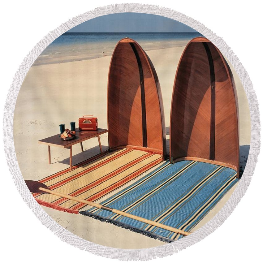 Accessories Round Beach Towel featuring the photograph Pixie Collapsible Boat On The Beach by Lois and Joe Steinmetz