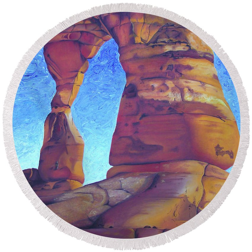 Moab Round Beach Towel featuring the painting Place Of Power by Joshua Morton