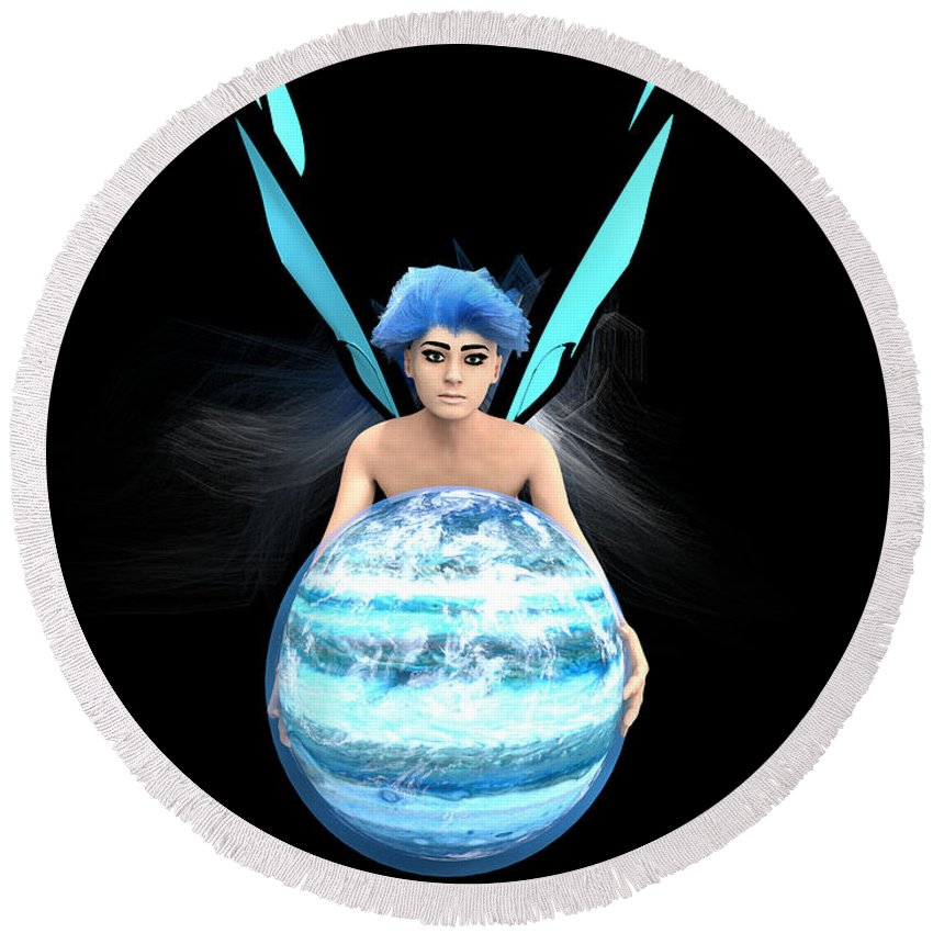 Fairy Round Beach Towel featuring the digital art Planet Gift by Brainwave Pictures