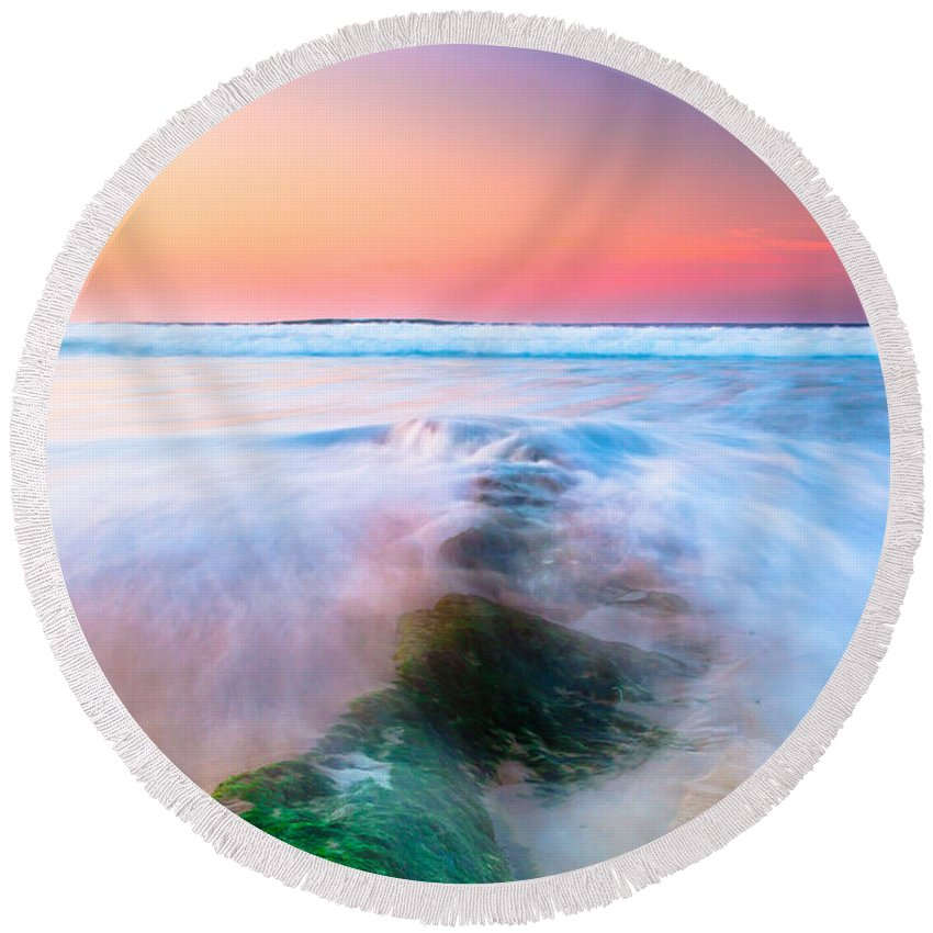 Red Round Beach Towel featuring the photograph Planet Water by Edgar Laureano